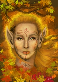 Portrait of an elf with some face tattoos inspired by Dragon Age: Inquisition. Photoshop CS5, 2016.