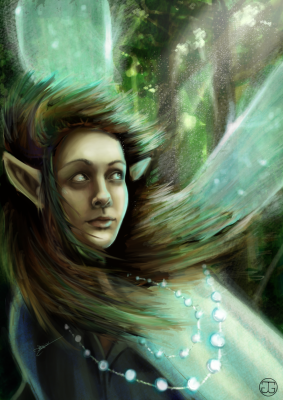 Shimmery faerie portrait, digitally painted in Photoshop CS5. 2015.