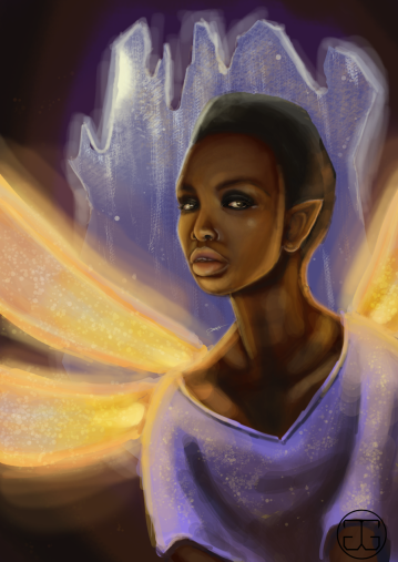Digital painting of a dragonfly faerie. Photoshop CS5, 2016.