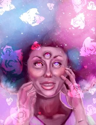 Fan art of Garnet from Steven Universe. Photoshop CS5, 2016.