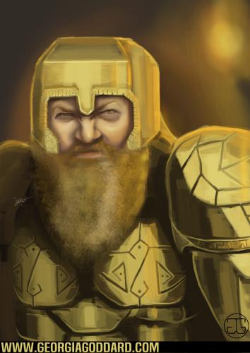 A scowling dwarf. Photoshop CS5, 2015.