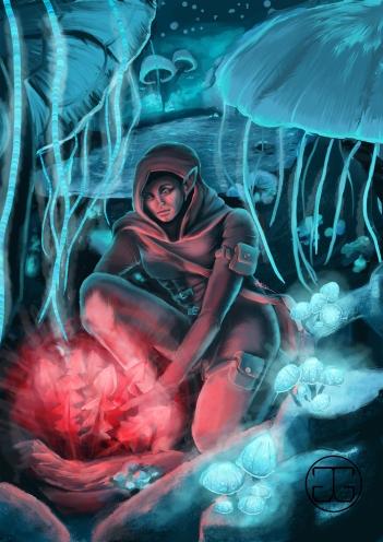 "Fan art of the zone ""Blackreach"" from The Elder Scrolls V: Skyrim. Photoshop CS5, 2015."