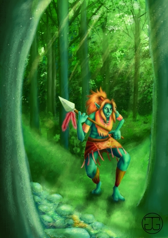 A Troll character based on the designs of the Troll race in Blizzard's World of Warcraft. Photoshop CS5, 2015.