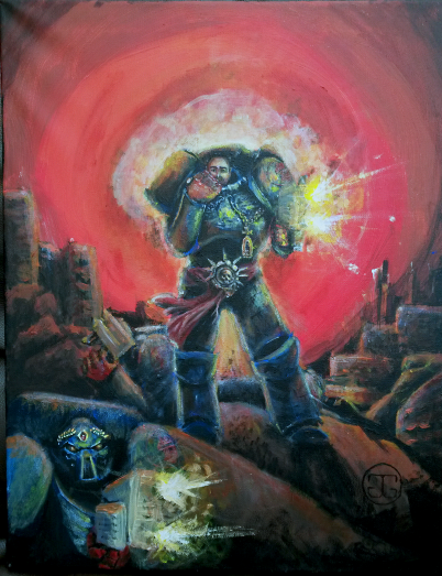 Portrait of the client as a character within the Warhammer 40k universe, acrylics on canvas, A2. 2015.