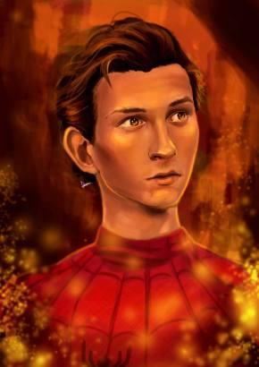 Fan art of Peter Parker's tragic moment in Avengers: Infinity War. Photoshop CS5, 2018.