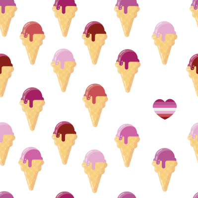 """Sapphic Summer"" Ice Cream design, using the palette of the Lesbian pride flag."