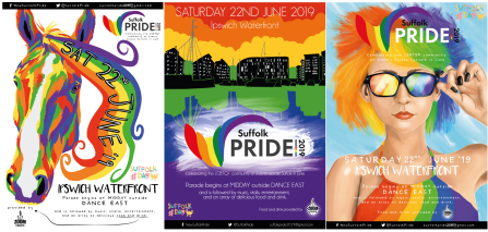 Poster set for Suffolk Pride 2019.