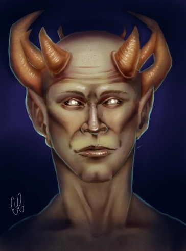 A demon with a crown of horns. Photoshop CS5, 2018.