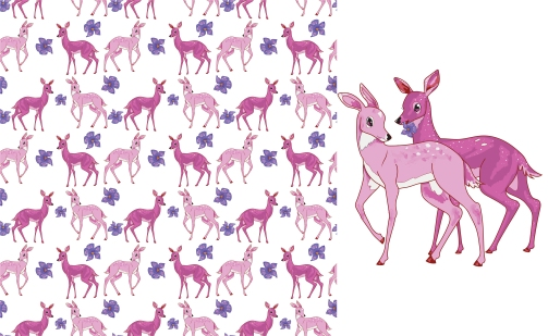 Pattern for print, based on the concept of 'bambi lesbians'.