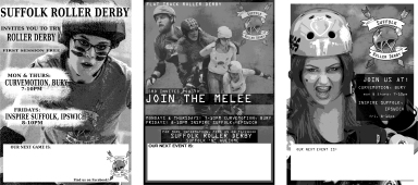 Flyer set for Suffolk Roller Derby, with a 'grunge' aesthetic.