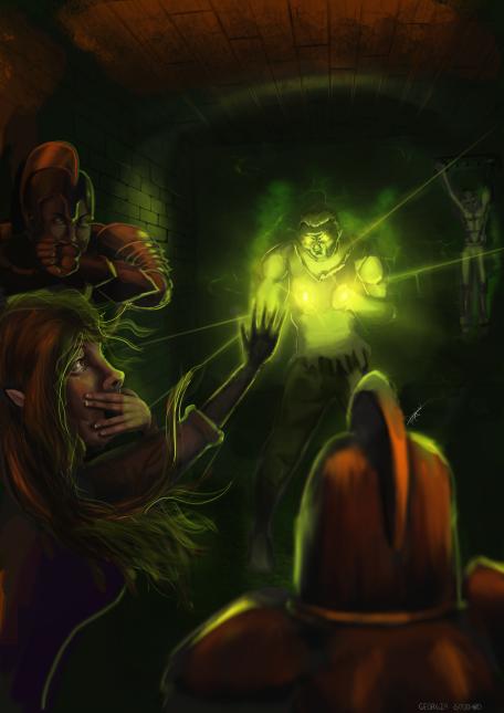 Venkas' Death Scene - Dungeons and Dragons Illustration