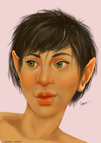 Portrait of a Halfling Dungeons and Dragons character.